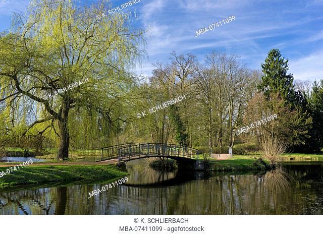 Germany, Brandenburg, Uckermark, Criewen, Lower Oder Valley National Park, spring day in the park of Criewen Castle (seat of the National Park Administration)