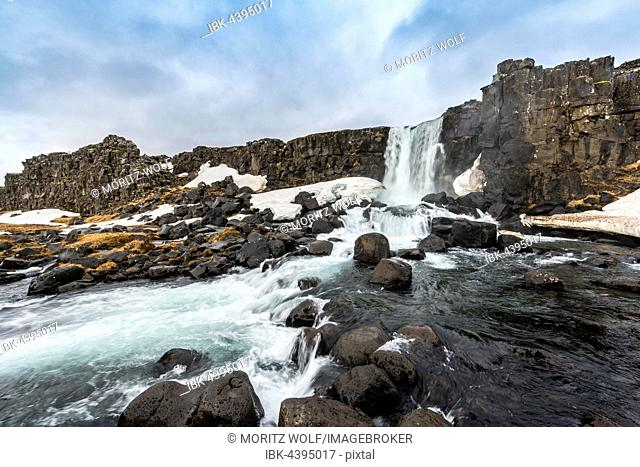 Öxarárfoss Waterfall, River Öxará, Thingvellir National Park, Golden Circle, Southern Region, Iceland