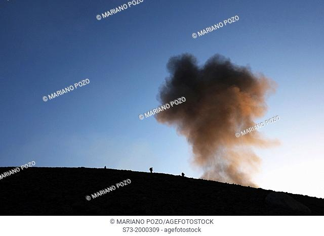 People and Stromboli volcano eruptions, Sicily, Italy