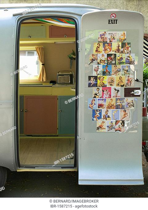 American trailer with pin-ups from the Fifties