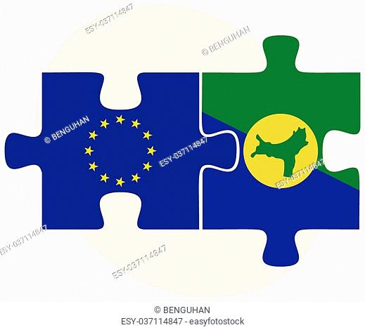 European Union and Christmas Island Flags in puzzle isolated on white background