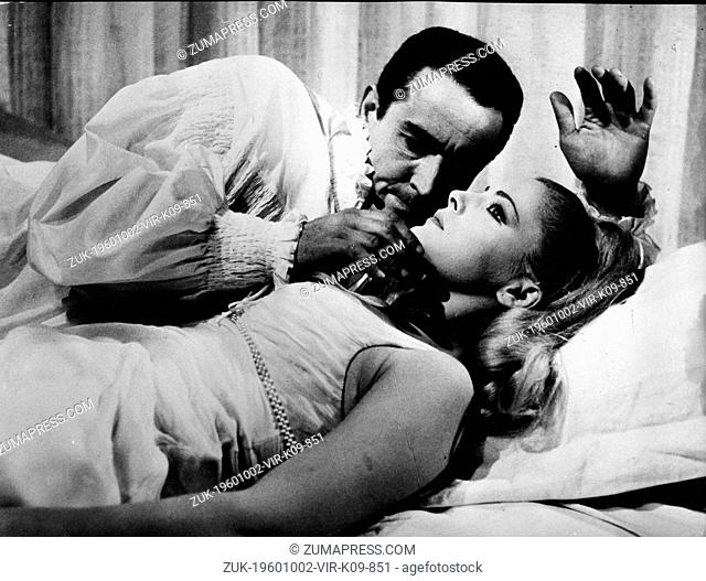 March 25, 1965 - Rome, Italy - Actress VIRNA LISI acting in a scene from the film, 'A Prince for A Virgin,' with co-star actor VITTORIO GASSMAN