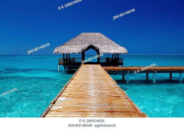 jetty on Maldivian Island, Maldives, Indian Ocean, Meemu Atoll, Medhufushi