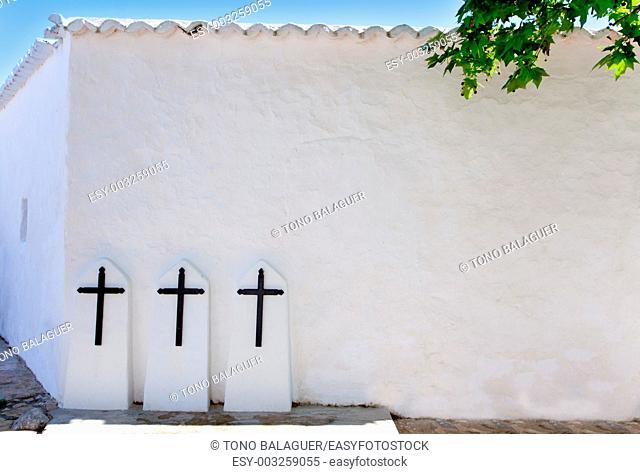 Ibiza Santa Agnes de Corona Ines white church crosses in Balearic islands