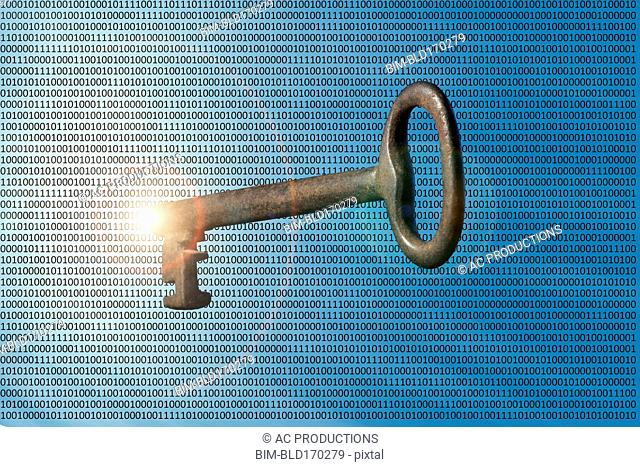 Skeleton key floating in binary code