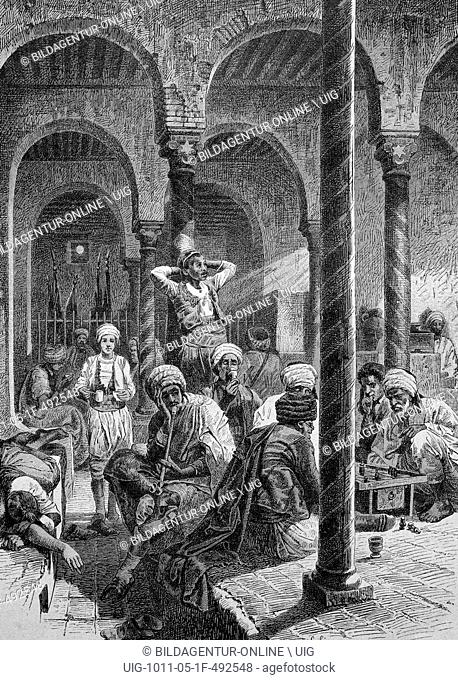 Coffeehouse in tunis, tunisia, historical picture, about 1893