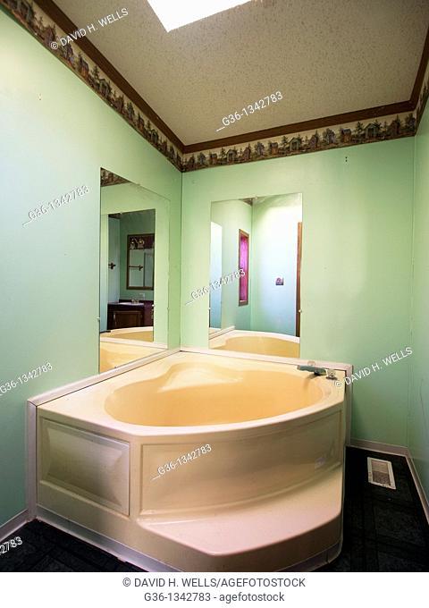 Hot tub in a foreclosed home in Interlochen, Michigan, United States