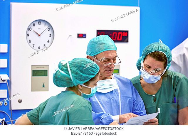 Surgeons discussing in operating room, Ambulatory Surgery, Hospital Donostia, San Sebastian, Basque Country, Spain
