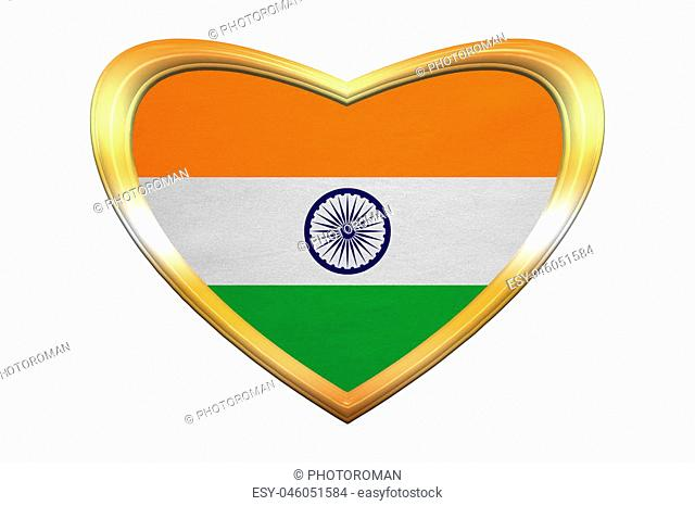 Indian national official flag. Patriotic symbol, banner, element, background. Correct colors. Flag of India in heart shape isolated on white background