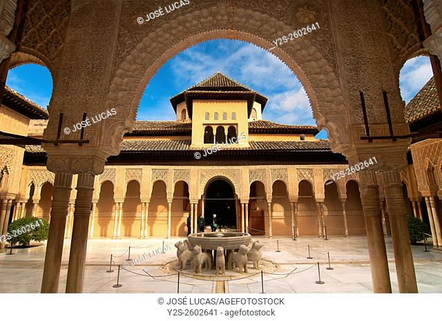 The Lions Courtyard, The Alhambra, Granada, Region of Andalusia, Spain, Europe