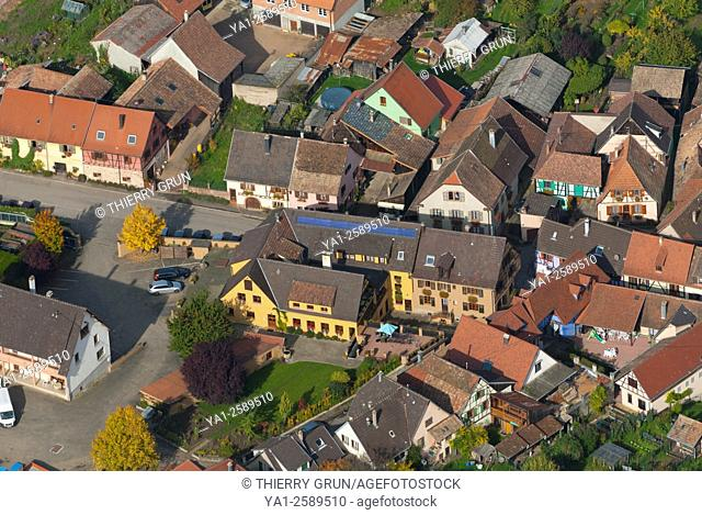 France, Haut Rhin 68, Wines road, village of Hunawihr, timbered houses aerial view
