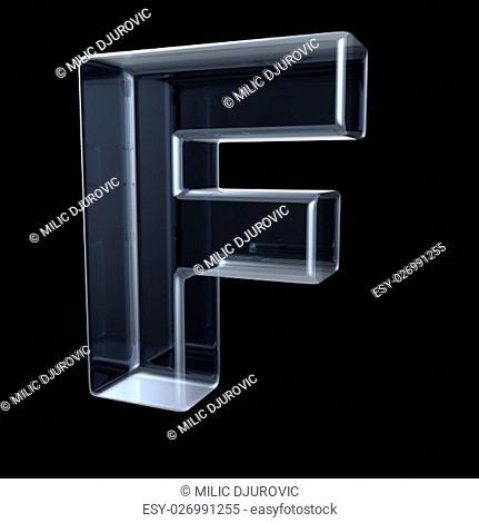 Transparent x-ray letter F. 3D render illustration on black background