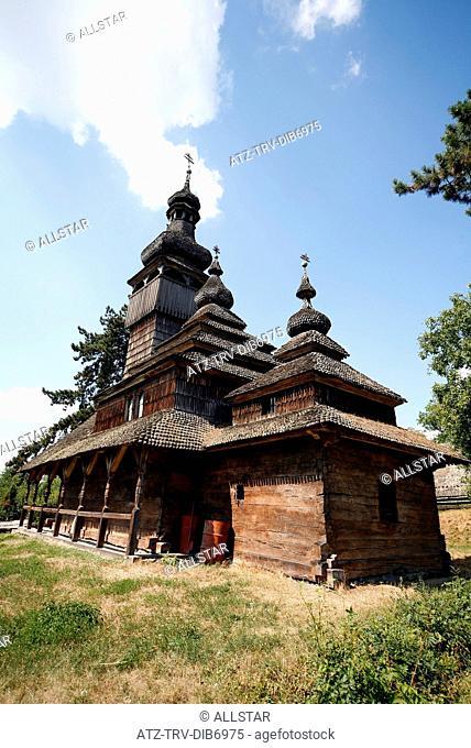TRADITIONAL WOODEN CHURCH; MUSEUM OF LOCAL LORE OF ZAKARPATTIA, UZHGOROD & UKRAINE; 26/08/2007