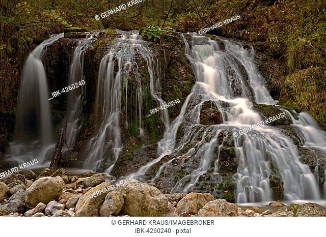 Waterfall in the Schwarzlofer mountain stream, Seegatterl, Reit im Winkl, Ruhpolding, Chiemgau, Upper Bavaria, Bavaria, Germany