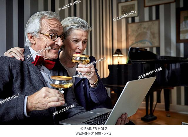 Happy senior couple drinking champagne and using laptop at home
