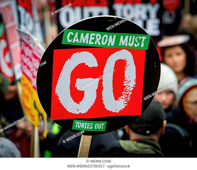 "Thousands join the """"Cameron Must Go, People's Assembly march. Anti-austerity groups unite to demand an end to government cuts"