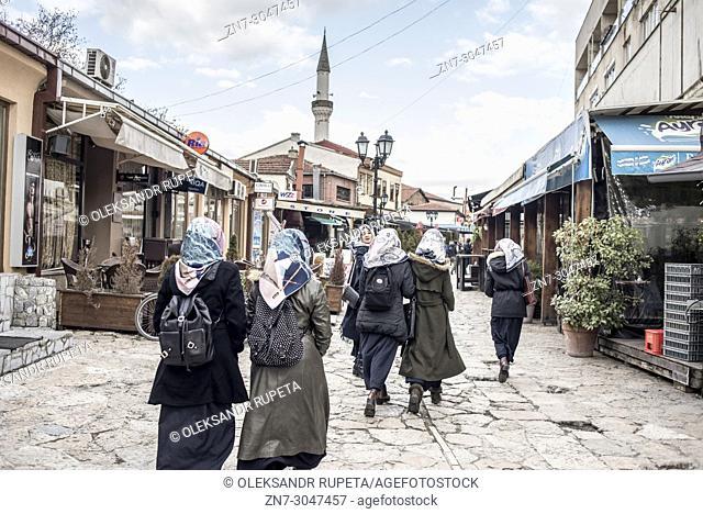 Group of Muslim girls in the Old Bazaar street, Skopje, Macedonia