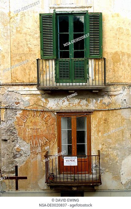 Traditional windows in Lipari, Italy