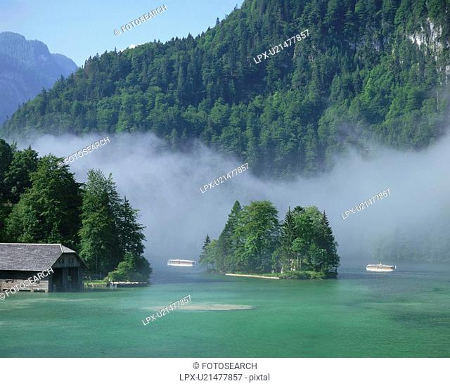 Lake in the Alps. Bavaria, Germany