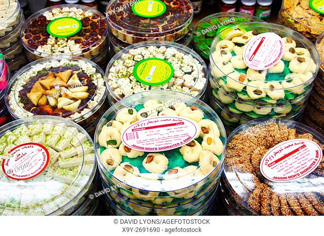 The famous Hussain Mohammed Showaiter Sweets shop. Muhurraq, Bahrain. Traditional rosewater, sesame, pistachio halva and sweets