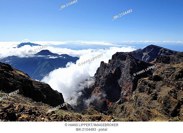 View from Roque de los Muchachos across a sea of clouds, Caldera de Taburiente National Park, La Palma, Canary Islands, Spain, Europe, PublicGround