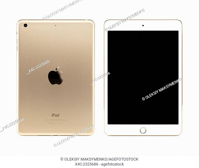 Gold Apple iPad Mini 3 tablet computer with blank screen, front and back view isolated with clipping path on white background