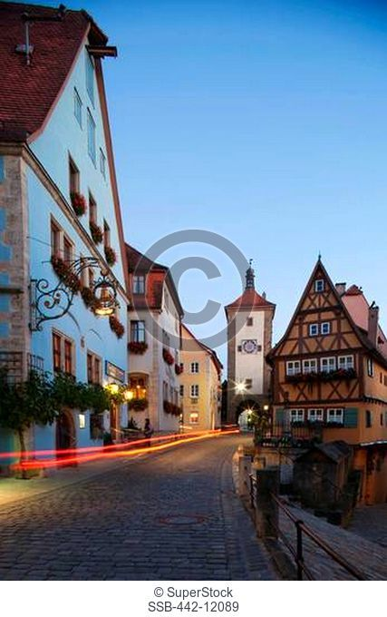 Buildings in a city, Plonlein and Siebers Tower, Rothenburg, Ansbach, Franconia, Bavaria, Germany