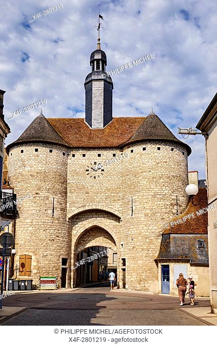 "France, Cher (18), Berry, Mehun-sur-Yèvre, approved """"the city and metiers of arts"""", Clock Gate, 14th century, the Jacques Coeur road,"