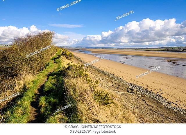The South West Coast Path on Horsey Island along the River Taw estuary, Braunton, Devon, England