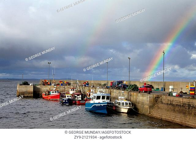 Rainbow Over the Fishing Harbour at Doonbeg Point, The Mullet Penninsula, County Mayo, Ireland
