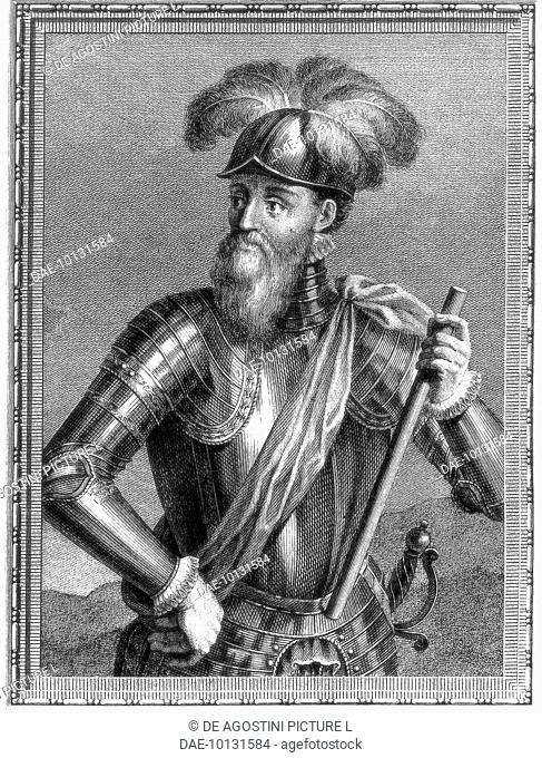 Portrait of Francisco Pizarro (Trujillo, ca 1475-Lima, 1541), Spanish commander, conqueror of the Incan Empire, engraving. Spain
