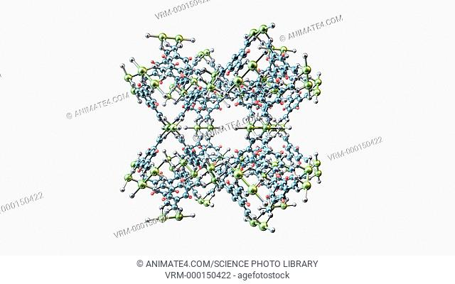 Metal-organic framework, animated 3D molecular model. Metal-organic frameworks (MOFs) are polymers consisting of metal ions or clusters linking organic...