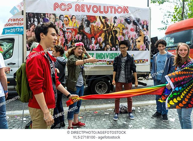 Paris, France, Group of French Teenagers, Playing Game on Street at Gay Pride, LGBT Activism