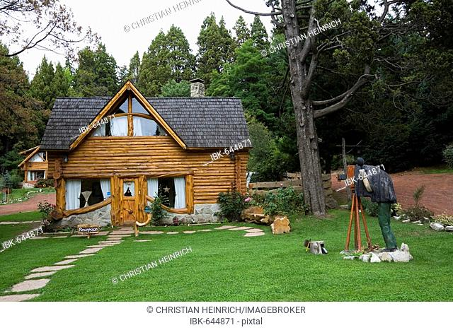 Cartoony wooden cottage in the town Bariloche, national park Parque Nacional Nahuel Huapi, lake region of northern Patagonia, Argentina, South America