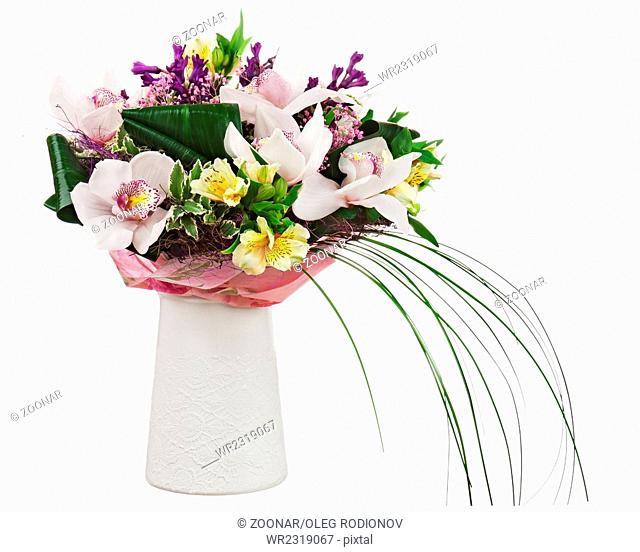 Bouquet from orchids in white vase isolated on whi