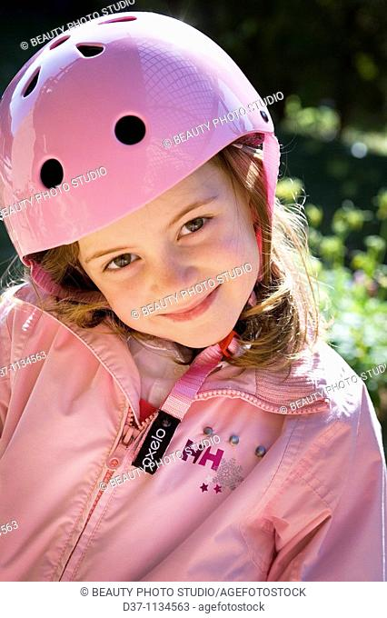 Young girl with helmet