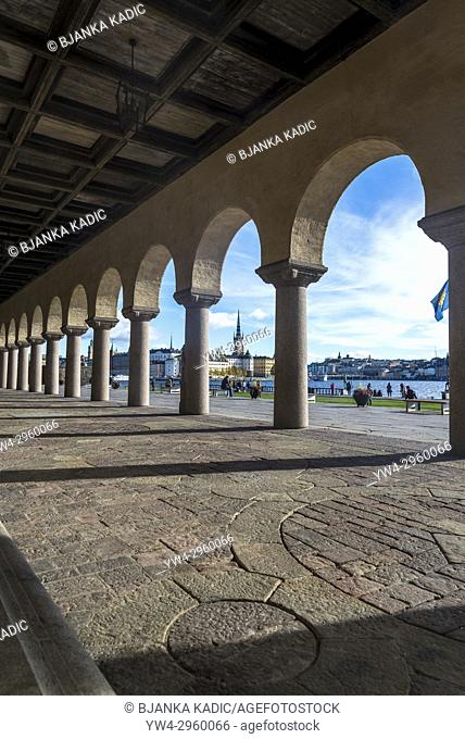 Stockholm City Hall portico and Riddarholmen church in the background, Stockholm, Sweden