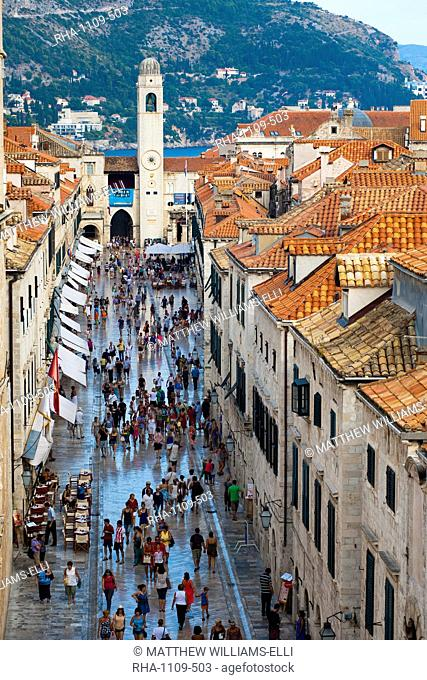 Dubrovnik City Bell Tower and Stradun, from Dubrovnik City Walls, UNESCO World Heritage Site, Dubrovnik, Dalmatian Coast, Croatia, Europe