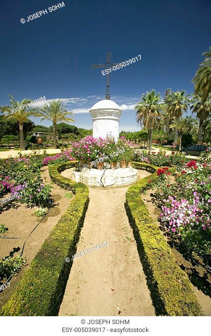 Gardens of 15th-century Franciscan Monasterio de Santa Mara de la Rbida, Palos de la Frontera, a Heritage of Mankind Site in the Huelva Provence of Andalucia...