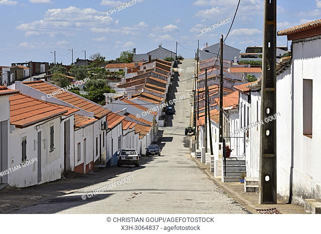 street of Povoa, village in the district of Beja, Alentejo region, Portugal, southwertern Europe