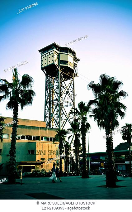 Cable car tower station. Barceloneta, Barcelona, Catalonia, Spain