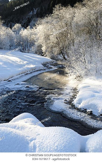 frost over the Dranse d'Abondance river, Haute-Savoie department, Rhone-Alpes region, France, Europe