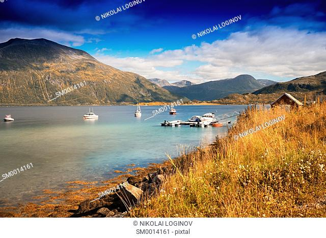 Norway boats near fjord landscape background hd
