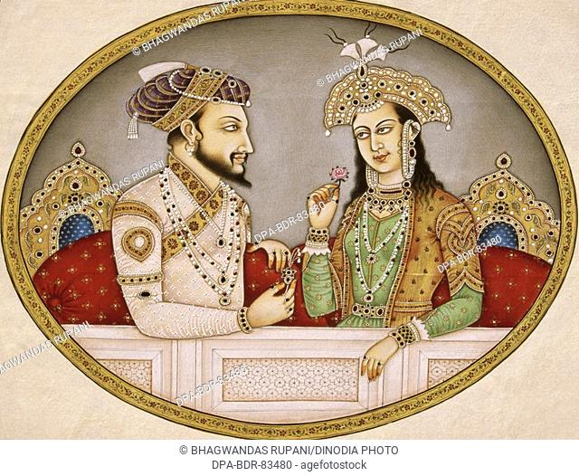 Portrait of mughal emperor Shahjahan with queen Mumtaz Mahal , india