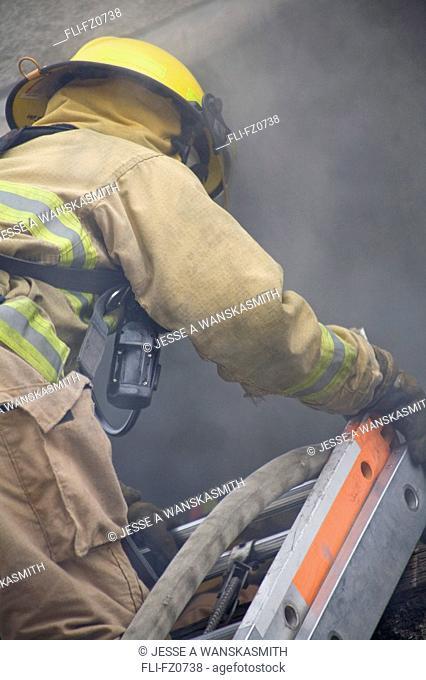 Firefighter entering training building, Spokane, Washington