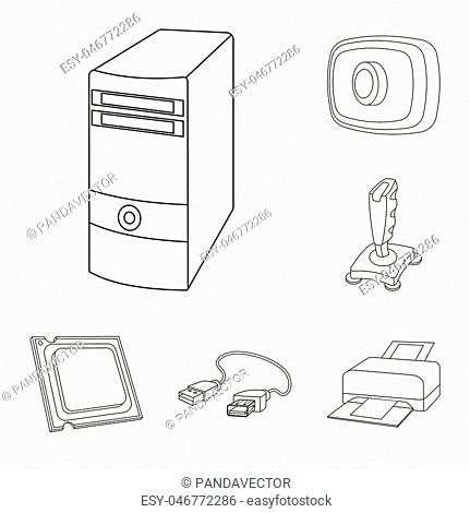 Personal computer outline icons in set collection for design. Equipment and accessories vector symbol stock illustration