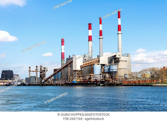 New York City, USA. Powerplant on the East River shoreline, Queens