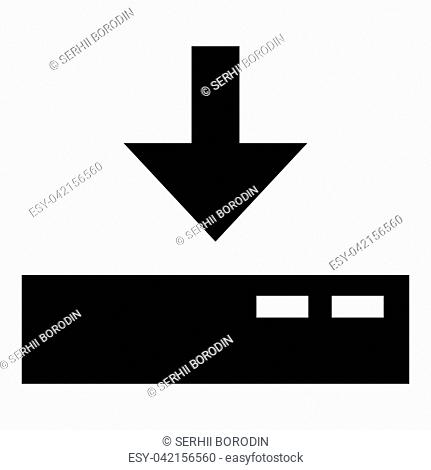 Download to server icon black color vector illustration flat style simple image