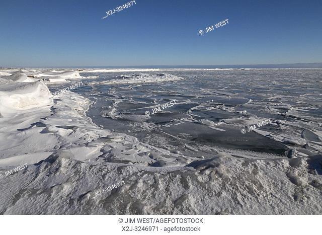 Harrisville, Michigan - Lake Huron in winter at Sturgeon Point State Park