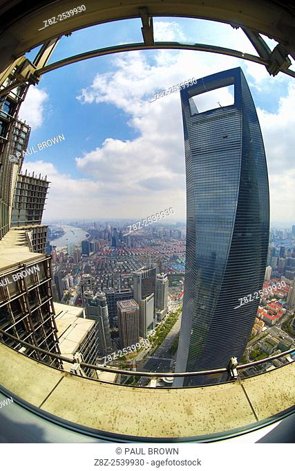 The Shanghai World Financial Center skyscraper building in Luijiazui, Pudong, Shanghai, China
